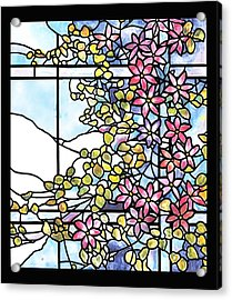 Stained Glass Tiffany Floral Skylight - Fenway Gate Acrylic Print