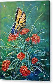 Tiger And Lantana Acrylic Print