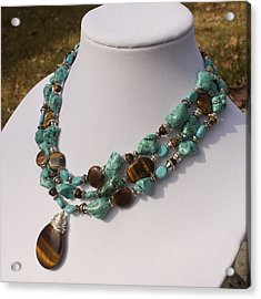 Tiger Eye And Turquoise Triple Strand Necklace 3640 Acrylic Print by Teresa Mucha