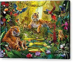 Tiger Family In The Jungle Acrylic Print