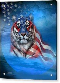 Acrylic Print featuring the mixed media Tiger Flag by Carol Cavalaris