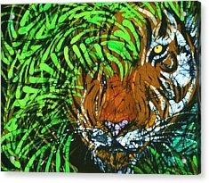Tiger In Bamboo  Acrylic Print by Kay Shaffer