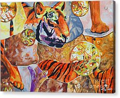 Acrylic Print featuring the painting Tiger Mosaic by Daniel Janda