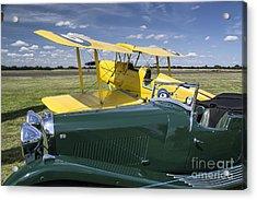 Tiger Moth And Lagonda Acrylic Print by Simon Pocklington