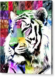Acrylic Print featuring the painting Tiger - Tigre by Ze  Di