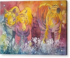 Acrylic Print featuring the painting Tiger Trio by Nancy Jolley