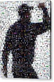 Tiger Woods Fist Pump Mosaic Acrylic Print by Paul Van Scott