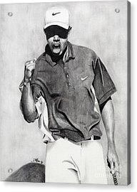 Tiger Woods Pumped Acrylic Print by Devin Millington