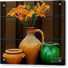 Tigerlilies And Pottery Acrylic Print by Marsha Heiken
