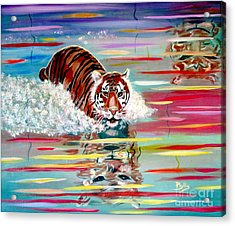 Acrylic Print featuring the painting Tigers Crossing by Phyllis Kaltenbach