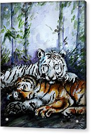 Acrylic Print featuring the painting Tigers-mother And Child by Harsh Malik