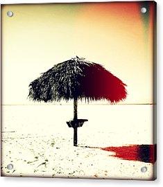 Tiki Alone Sunset Acrylic Print by Chris Andruskiewicz