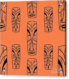 Tiki On Orange Pillow Acrylic Print