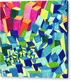 Tile 51 - City On The Hill Acrylic Print by Sean Corcoran