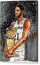 Tim Duncan Nba Champion Acrylic Print by Dave Olsen