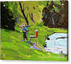 Tim The Plein Air Painter After Monet Acrylic Print by Charlie Spear