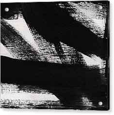 Timber 2- Horizontal Abstract Black And White Painting Acrylic Print by Linda Woods