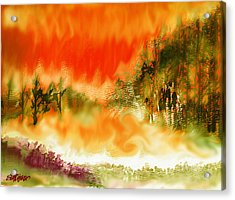 Acrylic Print featuring the mixed media Timber Blaze by Seth Weaver