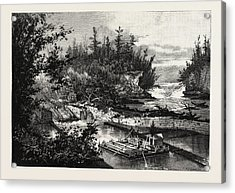Timber Slide At The Calumet Falls, Canada Acrylic Print by Canadian School