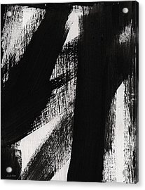 Timber- Vertical Abstract Black And White Painting Acrylic Print