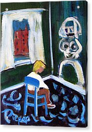 Time Out For De Kooning In A Chair In A Corner Acrylic Print by Betty Pieper