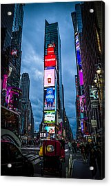 Time Square At Dusk Acrylic Print by Chris Halford