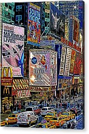 Time Square New York 20130430v3 Acrylic Print by Wingsdomain Art and Photography