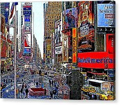 Time Square New York 20130503v4 Acrylic Print by Wingsdomain Art and Photography