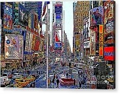 Time Square New York 20130503v5 Acrylic Print by Wingsdomain Art and Photography