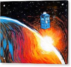 Time Travel Tardis Acrylic Print by Jera Sky