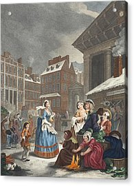 Times Of The Day Morning, Illustration Acrylic Print by William Hogarth