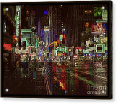 Times Square At Night - After The Rain Acrylic Print