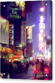 Times Square At Night - Columns Of Light Acrylic Print