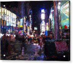 Times Square By Night Acrylic Print by Steve K