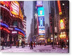 Times Square In The Snow Acrylic Print by Zev Steinhardt