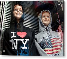 Times Square Kids Acrylic Print by Ed Weidman