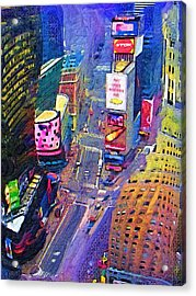 Times Square Nyc Acrylic Print by Bud Anderson