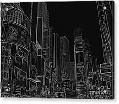 Times Square Nyc White On Black Acrylic Print by Meandering Photography