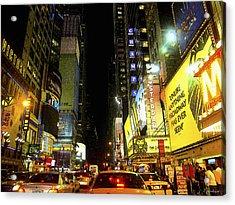 Times Square Photofresco Acrylic Print by Joseph Hedaya