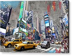 Times Square Street Creation Acrylic Print by Delphimages Photo Creations