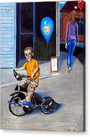 Timmy's New Tricycle Acrylic Print