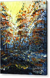 Acrylic Print featuring the painting Tim's Autumn Trees by Holly Carmichael