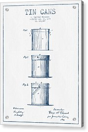 Tin Cans Patent Drawing From 1878 - Blue Ink Acrylic Print