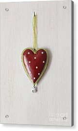 Acrylic Print featuring the photograph Tin Heart Hanging On Wood by Sandra Cunningham