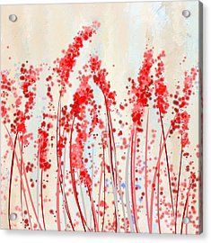 Tinge Of Passion- Cream And Red Art Acrylic Print by Lourry Legarde