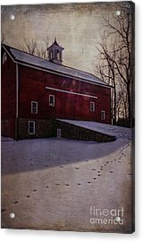 Acrylic Print featuring the photograph Tinicum Barn In Winter by Debra Fedchin