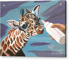 Tiny Baby Giraffe With Bottle Acrylic Print