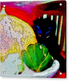 Acrylic Print featuring the painting Tiny Black Kitten by Lisa Kaiser