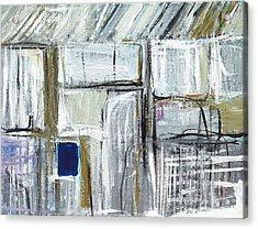 Tiny Blue Opening In The White Wall Acrylic Print by Kazuya Akimoto
