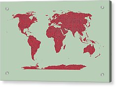 Tiny Red Hearts World Map Acrylic Print by Daniel Hagerman